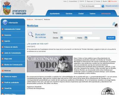 La web del Ayuntamiento de Guadalajara