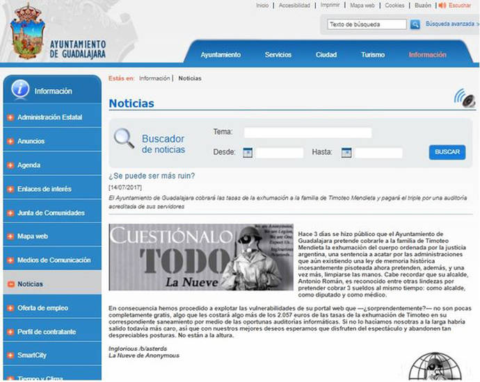 Anonymous hackea la web del Ayuntamiento de Guadalajara por intentar cobrar la exhumación de Timoteo Mendieta
