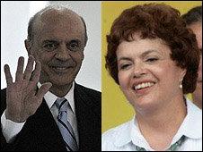 Serra (I) todavía no ha sido nombrado candidato por su partido, Rousseff lo fue el mes pasado.