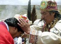 Evo Morales es purificado por su Chamán, Mejillones